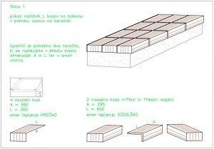 Skica polaganja keramike na balkonu in navodila za narocilo